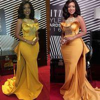 Elegantes vestidos de noche de la sirena de la sirena africana elegantes de la manera de la moda de la moda de los vestidos de prom Plash 2020 con vestido de celebridades de trenes de satén con cuentas