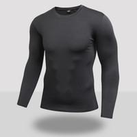 Nuevos hombres camiseta de compresión de secado rápido de manga larga camiseta de entrenamiento Ropa de fitness de verano Color sólido Culturismo Gimnasio Trajes de running
