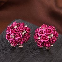 Fashion Gorgeous Multicolor Crystal Flower Stud Earrings For...