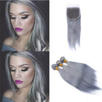 Peruvian Grey Human Hair Bundles with Lace Closure Silky Str...