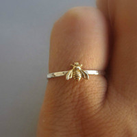 Simple Tiny 925 Solid Sterling Silver Bee Ring Gold Hammered...