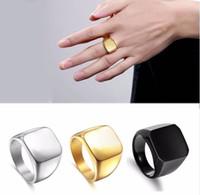 Anneaux de mode Square Big Largeur Signet Anneaux 24K Titane Steel Man Finger Argent Or Black Gold Hommes Bague Bijoux Anel Nouveau