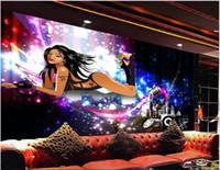 1e7631bd8 3d papel de parede personalizado foto mural Sexy beleza colorido bar disco  KTV ferramental murais de parede papel de parede 3d paisagem parede  tapeçaria 3d