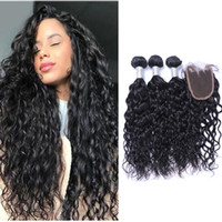 Peruvian Natural Wave Hair Bundles with Closure Free Middle ...