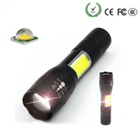 COB T6 LED linterna táctica 4000 lúmenes 4 modos de luz Zoomable antorcha impermeable recargable 18650 batería de luz de flash para paseo nocturno