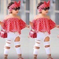 Kids Summer Girls Clothing Sets Off Shoulder Top Shirt+ Hole ...