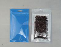 Ücretsiz kargo 100 adet / 7x10 cm Ön Şeffaf Mavi BOPP Perlized Film Kilitli torba-Paket Saç Bandı Ambalaj kılıfı fermuar açılıp kapanabilir, zip çanta