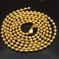 5pcs lot Gold tone 2. 4mm Stainless Steel Round Ball Chain Hi...