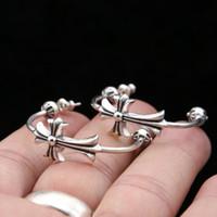 orecchini personalizzati 925 antichi gioielli in argento d'epoca fatti a mano designer americano fascino trasversale di tipo C vite prigioniera del cerchio per le donne