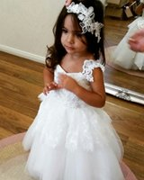 Lace Appliques flower girl dresses Cute Backless Flower Girl...