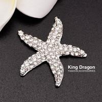 Rhinestone Starfish Embellishment-knapp som används på bröllopsinbjudan eller dekoration 32mm 20pcs / lot silverfärg platt baksida kd135