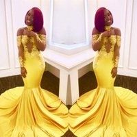 Prom Dresses 2018 Modest Black Girl Yellow lace Elastic Sati...