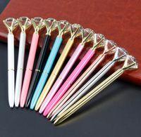 الإبداعية والزجاج والكريستال KAWAII قلم حبر جاف الكبير جوهرة الكرة من ركلة جزاء مع الماس كبيرة 11 ألوان الموضة مكتب اللوازم المدرسية SN296