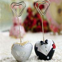 수지 심장 신부와 카드 DHL 무료 배송 신랑 이름 카드 홀더 결혼식 파티 리셉션 호의 장소 카드 홀더 1 쌍