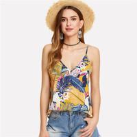 Çok renkli tatil boho bohemian plaj çiçek tropikal karışık baskı backless çift derin v boyun yaz kadınlar üst