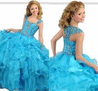 2018 Vestido Longo De Princesa fiesta de niñas Vestido de bola Halter Organza Rhinestone volante de la cerradura Volver desfile Vestidos de niña de las flores