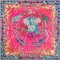 أحمر حك مربع وشاح الشعر التفاف المرأة الفيل الزرافة المعطف الفولار فام السيدات مهرج كبير وشاح الحرير كبير تنوعا التبعي