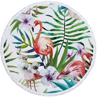2018 Flamingo Round Beach Towel With Tassels flower printed ...