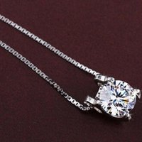 jewelry S925 Sterling Silver Woman Zirconia Crystal 0.8cm*0.8cm Pendant Water Necklace Wedding Jewelry free shipping