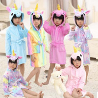 Bathrobe girls Pajamas Baby Bath Robe Rainbow Unicorn Patter...