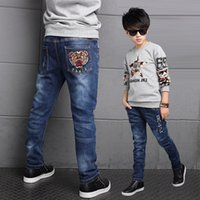 4T- 13T new 2016 fashion Tiger head cool boys jeans spring tr...