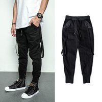 Bebovizi Trend Streetwear Hip Hop Schwarz Hosen Persönlichkeit Schlank Cargo Pants Lässige Mode Jogger Jogginghose Rap Male