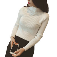 New 2019 Spring Fashion Women Sweater High Elastic Solid Tur...