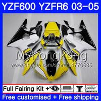 Corpo per YAMAHA YZF600 YZF R6 03 04 05 YZFR6 03 Carrozzeria 228HM.18 YZF 600 R 6 YZF-600 giallo nero magazzino YZF-R6 2003 2004 2005 Kit carene