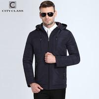 cff00f6142795 Ciudad clase otoño chaqueta para hombre capucha desmontable acolchado  acolchado Parkas estilo de negocios más tamaño