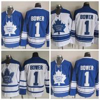 빈티지 토론토 메이플 Leafs 자니 바우처 하키 유니폼 홈 파란 망 저렴한 클래식 # 1 Johnny Bower 스티치 하키 셔츠