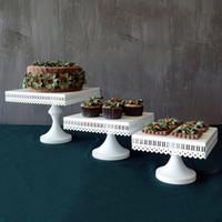 3 Tamaño de Mesa de Boda de Estilo Europeo Cuadrado Cake Stand Hierro Tall Cake Bandeja de Frutas de Encaje Solo Cupcake Stand