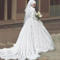 Elegant Lace Muslim Wedding Dresses High Neck Long Sleeves T...