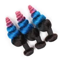 # 1B / Blau / Rosa Ombre Peruanisches Menschenhaar Doppeleinschlagfäden 3 Stücke Lose Welle Drei Ton Ombre Menschenhaar Bundles Angebote Wellenförmige Reine Haarwebarten