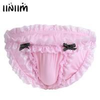 Wholesale-iiniim Höschen für Herren Dessous Sissy Maid Blumenspitze Soft Bikini Slip Unterwäsche Underpamts Breathable Low-Rise Unterwäsche