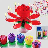 Красочных Лепестки Музыка Свеча Дети Birthday Party Лотос игристых цветы Свеча Брызги Blossom пламя торт Аксессуар подарки HH7-204