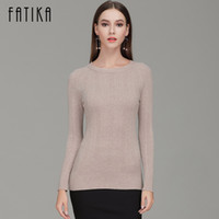 FATIKA 2017 Fashion Women Boat Neck Full Sleeve Slim Pullove...