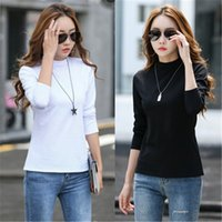 New Women Cotton Half- high Collar Long- sleeved Top Fashion S...
