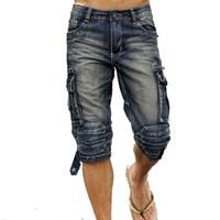 Kargo Pantolon Casual Erkek 'S Kargo Kot Şort Retro Vintage Slim Fit Jeans Şort Mulit -Pockets Askeri Biker Şort İçin Men Yıkanmış