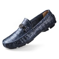 crocodile loafers men luxury handmade genuine leather drivin...