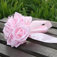 Beautiful Bouquets de mariée de mariage blanc et turquoise avec des fleurs à la main Fournitures de mariage de mariage mariée tenant la broche bouquet CPA1575Cheap mousse