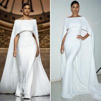 Simple Elegant White Mermaid Evening Dresses With Cape Long ...