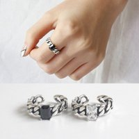 Women Chain Shape Sterling Silver S925 Rings Square Agate Ge...
