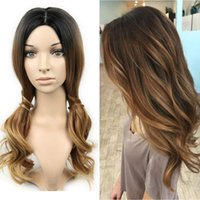 Synthetic Long Natural Wavy Hair Wigs Ombre Color Wig Heat R...