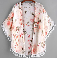Newest Baby Girl Clothes Peony Printed Tassel Shawl Cardigan...