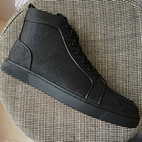 New 2018 Men Women Black Glitter Canvas High Top Red Bottom ...