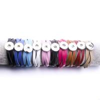 Noosa Parçaları 10 Renkler Snap Düğmesi Bilezik Erkekler / Kadınlar Takı Ayarlanabilir Deri Sarma Düğmesi Bilezik Bilezik