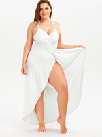 Beach Plus Size Cover Up Dress Women Suspender Solid Vestidos largos sin mangas Backless Summer Holiday Ropa de vestir de mayor tamaño Candy