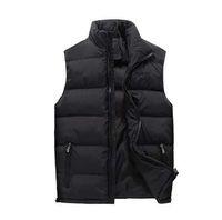 Jaqueta de inverno novo para baixo colete homens sólido cor gilet cuir homme sem mangas homens à prova de vento quente waistcoat magro colete espesso # d3
