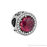 5 Pz / lotto S925 Sterling Sterling Charms Charms Belle's Radiant Rose Cerise Crystal Fits Braccialetti DIY 792140NCC