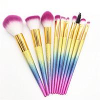 10 pezzi / set pennelli trucco rosa glitter set fondotinta professionale bling bling make up pennelli ombretto ciglia correttore pennelli trucco
